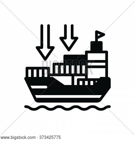 Black Solid Icon For Importers Import-goods Shipping Transport Carriage Ship