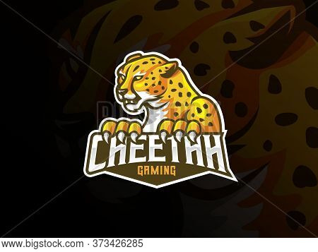 Cheetah Mascot Sport Logo Design. Leopard Animal Mascot Vector Illustration Logo. Wild Cat Mascot De