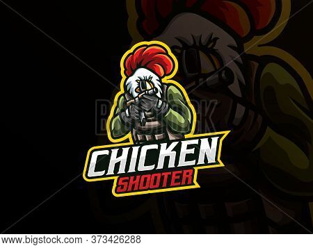 Rooster Mascot Sport Logo Design. Chicken Army Mascot Vector Illustration Logo. Rooster Gunner Masco