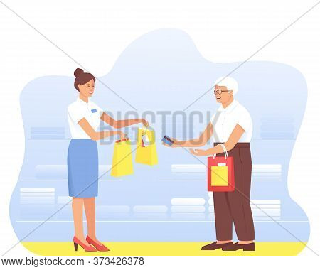 An Aged Man Makes Purchases From A Seller In A Store. Grandfather Glasses Pays With A Card For The P