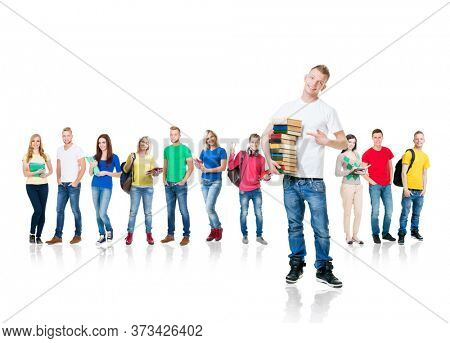 Large group of teenage students isolated on white background. Many different people standing together. School, education, college, university.