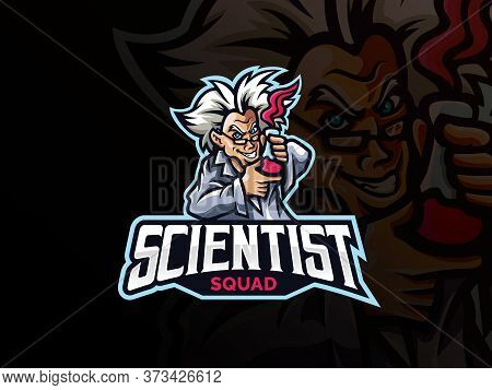 Scientist Mascot Sport Logo Design. Mad Scientist Mascot Vector Illustration Logo. Crazy Doctor Scie