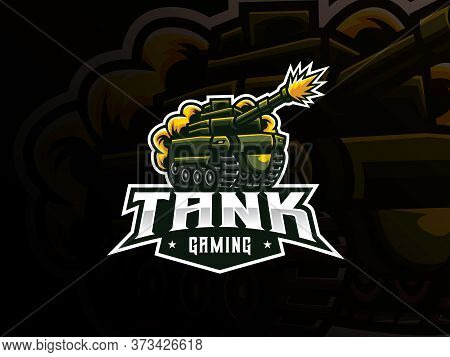 Tank Mascot Sport Logo Design. Military Tank Mascot Vector Illustration Logo. War Battle Mascot Desi
