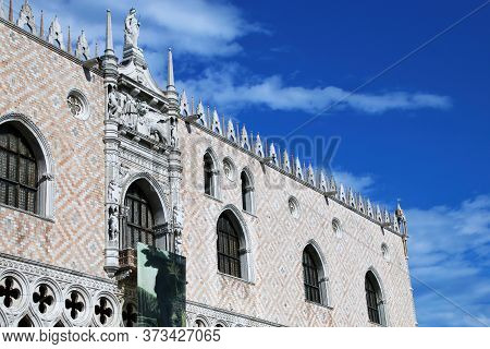 Close View Of Palazzo Ducale At Piazza San Marco In Venice, Italy. The Palace Was The Residence Of T