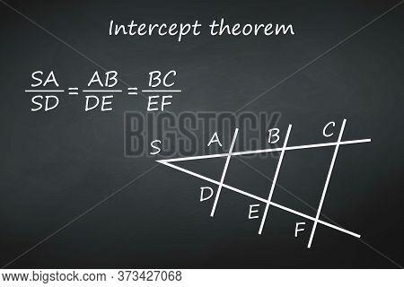 Intercept Theorem On Chalkboard Template For Your Design