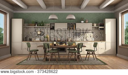 Classic Style Kitchen With Wooden Table And Chairs,green Wall And Wooden Ceiling - 3d Rendering