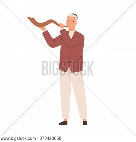 Modern Jewish Man Playing Shofar Vector Flat Illustration. Colorful Cute Male Blowing Traditional Je