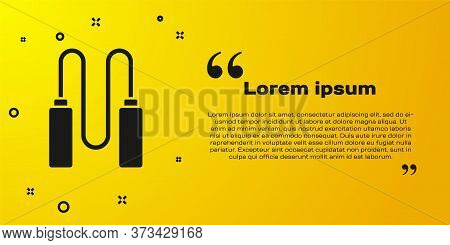 Black Jump Rope Icon Isolated On Yellow Background. Skipping Rope. Sport Equipment. Vector Illustrat