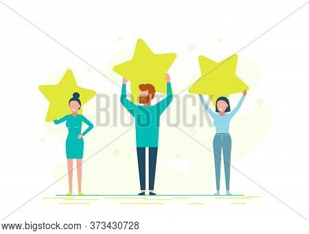 Rank rating stars feedback. Customer reviews rating, Different people give a review rating and feedback, Support for business satisfaction/Business people. Business background. Infographic business arrow shape template design. Business background