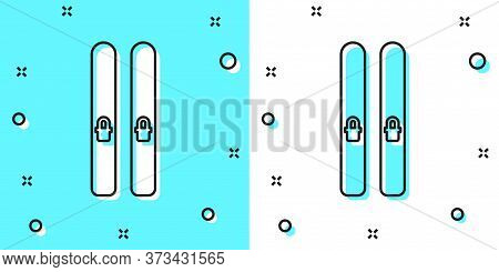 Black Line Ski And Sticks Icon Isolated On Green And White Background. Extreme Sport. Skiing Equipme
