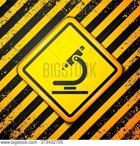 Black Microscope Icon Isolated On Yellow Background. Chemistry, Pharmaceutical Instrument, Microbiol