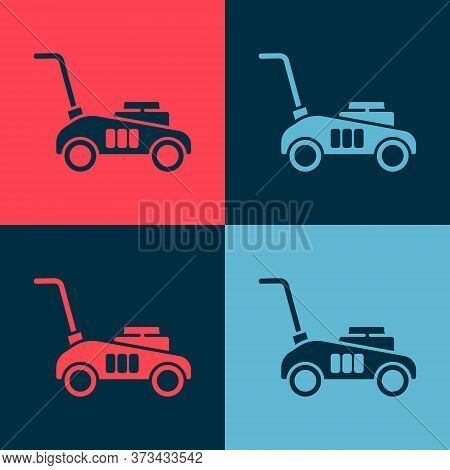 Pop Art Lawn Mower Icon Isolated On Color Background. Lawn Mower Cutting Grass. Vector Illustration