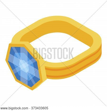 Gold Jewel Ring Icon. Isometric Of Gold Jewel Ring Vector Icon For Web Design Isolated On White Back
