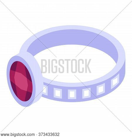 Silver Ruby Ring Icon. Isometric Of Silver Ruby Ring Vector Icon For Web Design Isolated On White Ba