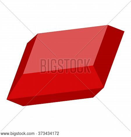 Red Gemstone Icon. Isometric Of Red Gemstone Vector Icon For Web Design Isolated On White Background