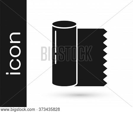Grey Textile Fabric Roll Icon Isolated On White Background. Roll, Mat, Rug, Cloth, Carpet Or Paper R