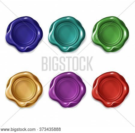 Multicolored Wax Seals For Letter, Document, Certificate Or Guarantee. Vector Realistic Set Of Blank