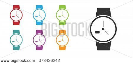 Black Wrist Watch Icon Isolated On White Background. Wristwatch Icon. Set Icons Colorful. Vector Ill