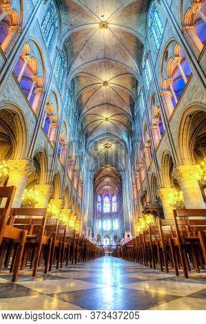 Notre-dame De Paris Cathedral Interior, Paris, France - May 2018