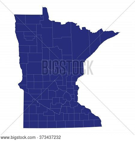 High Quality Map Of Minnesota Is A State Of United States Of America With Borders Of The Counties