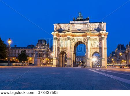 Carousel Arch Of Triumph At Night, Paris, France