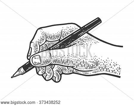 Hand Writes With A Ballpoint Pen Sketch Engraving Vector Illustration. T-shirt Apparel Print Design.