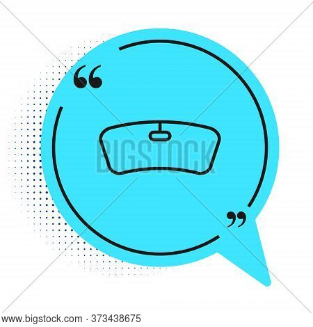 Black Line Windshield Icon Isolated On White Background. Blue Speech Bubble Symbol. Vector Illustrat