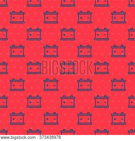 Blue Line Car Battery Icon Isolated Seamless Pattern On Red Background. Accumulator Battery Energy P