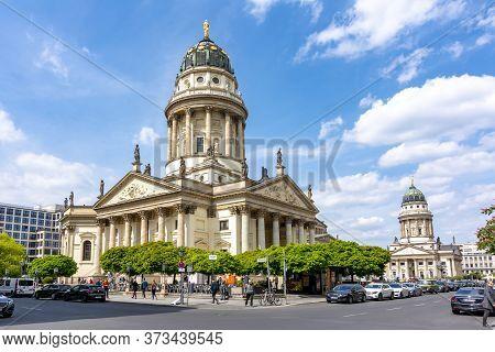 Gendarmenmarkt Square With French Church (französischer Dom) And New Church (deutscher Dom Or Neue K