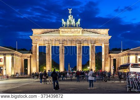 Brandenburg Gate (brandenburger Tor) At Night, Berlin, Germany