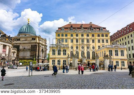 Neumarkt Square Architecture At Frauenkirche Church, Dresden, Germany - May 2019