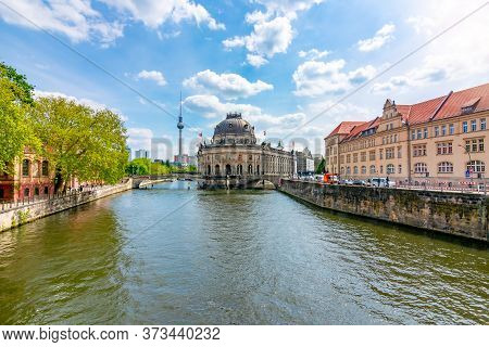 Bode Museum On Museum Island And Spree River, Berlin, Germany