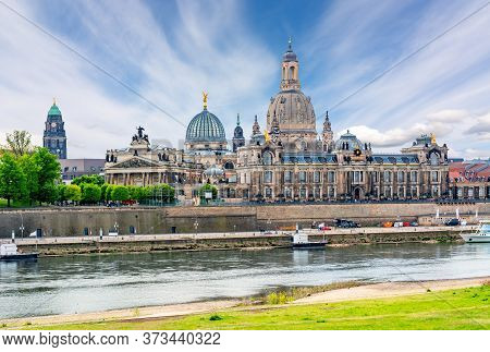 Dresden Cityscape With Frauenkirche (church Of Our Lady) And Elbe River, Germany