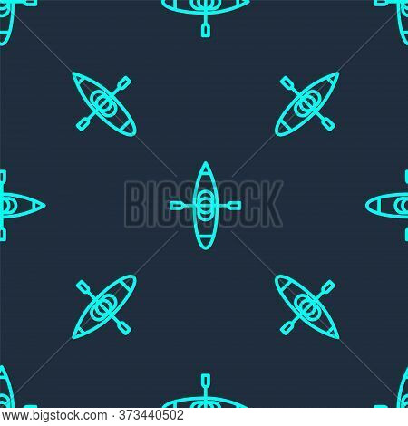 Green Line Kayak And Paddle Icon Isolated Seamless Pattern On Blue Background. Kayak And Canoe For F