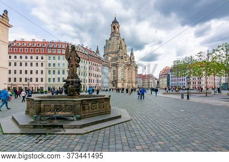 Dresden, Germany - May 2019: Neumarkt (new Market) Square With Frauenkirche (church Of Our Lady) In