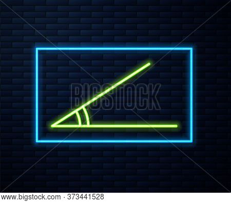 Glowing Neon Line Acute Angle Of 45 Degrees Icon Isolated On Brick Wall Background. Vector Illustrat