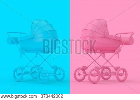 Modern Pink And Blue Baby Carriage, Stroller, Pram Mock Up In Duotone Style On A Pink And Blue Backg