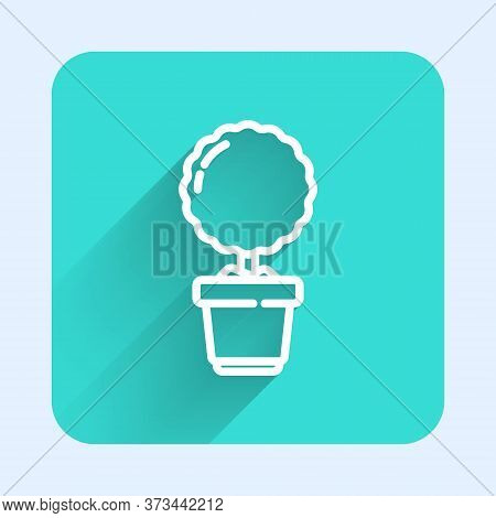 White Line Plant In Pot Icon Isolated With Long Shadow. Plant Growing In A Pot. Potted Plant Sign. G
