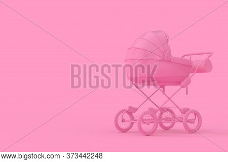 Modern Pink Baby Carriage, Stroller, Pram Mock Up In Duotone Style On A Pink Background. 3d Renderin