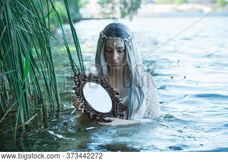 Old European Magic, Mystical Pagan Scene, Woman In Lake, Rituals. Magic Divination In Water, Ritual.