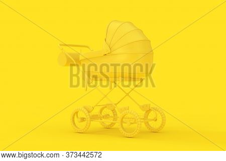 Modern Yellow Baby Carriage, Stroller, Pram Mock Up In Duotone Style On A Yellow Background. 3d Rend