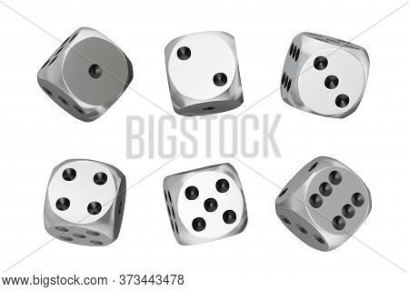 Casino Gambling Concept. Set Of Silver Game Dice Cubes In Differetn Positions On A White Background.