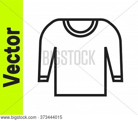 Black Line Sweater Icon Isolated On White Background. Pullover Icon. Vector Illustration