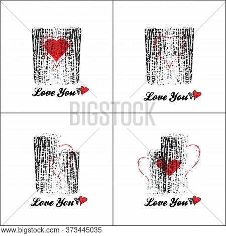 Two Cups In Love With A Red Heart And With Red Handles. Four Options. Stylized Sign For Catering, Ca