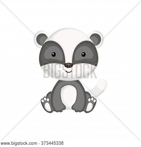 Cute Baby Badger Sitting Isolated On White Background. Adorable Animal Character For Design Of Album