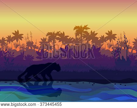 Amazonian Landscape With Palm Trees Silhouette, Exotic Plants, Panther On The Riverbank. Rainforest