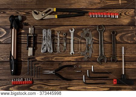 Bicycle Repair Tools. Repair Shop. Set Of Tools. Sale Of Bicycle Tools