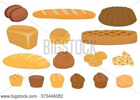 Vector Set Of Cartoon Bread. Cartoon Bread Or Sweet  And Slices Of Bake Roll Or Pastry,  Isolated Ca