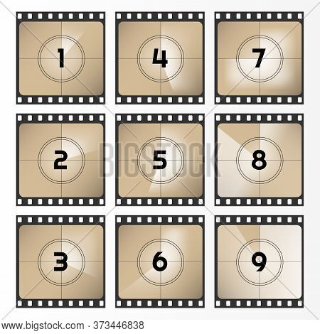 Vintage Retro Movie. Countdown Frame Out 0 To 9. Film Countdown Vector Illustration. Old Film. Vecto