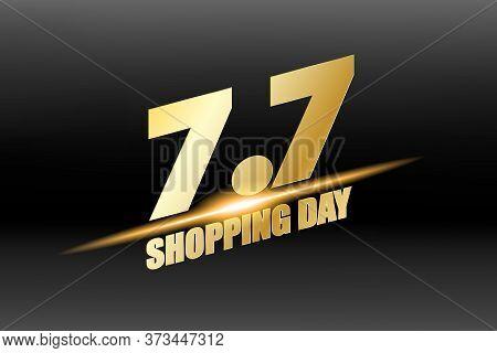 7.7 Mega Shopping Day Sale Poster Or Flyer Design. Global Shopping World Day Crazy Sales Online. Gol